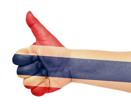 Thai flag on thumb up gesture like icon Stock Photo - 13419382