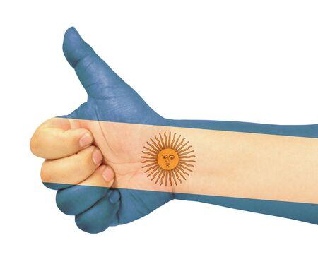 bandera argentina: Bandera de Argentina en el dedo pulgar hacia arriba gesto como icono