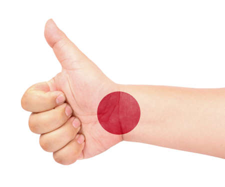 Japan flag on thumb up gesture like icon Stock Photo - 13419429