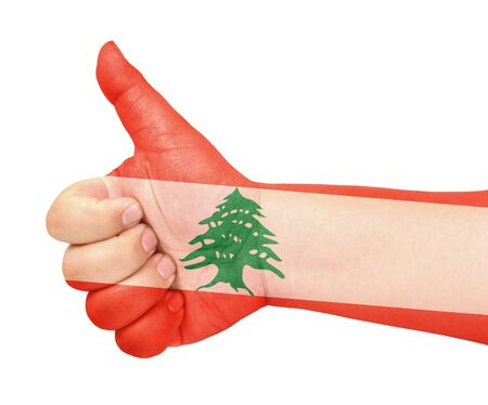 Lebanon flag on thumb up gesture like icon Stock Photo - 13419451