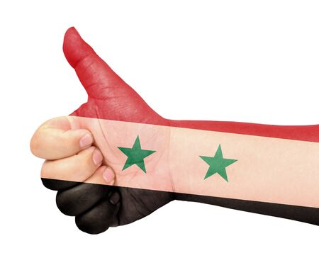 Syria flag on thumb up gesture like icon Stock Photo - 13419431