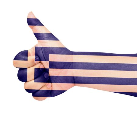 Greece flag on thumb up gesture like icon Stock Photo - 13419461