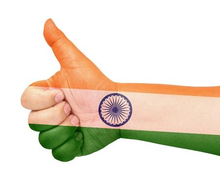 drapeau inde: Drapeau Inde sur le pouce jusqu'� geste comme ic�ne Banque d'images
