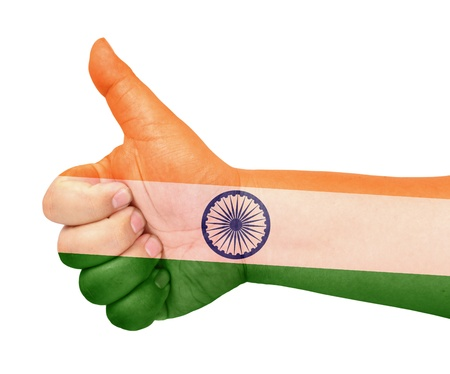 India flag on thumb up gesture like icon Stock Photo - 13419456