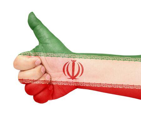 Iran flag on thumb up gesture like icon Stock Photo - 13419487