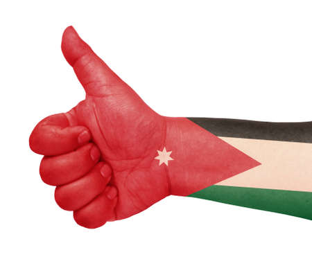 Jordan flag on thumb up gesture like icon Stock Photo - 13419459