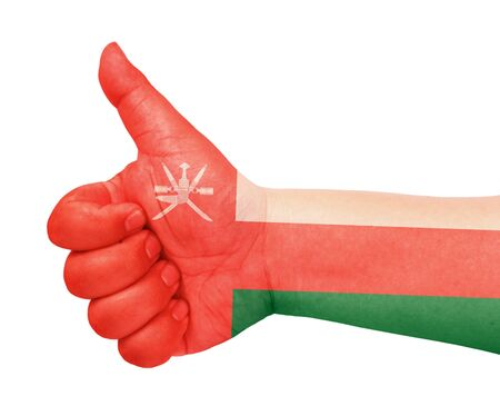 Oman flag on thumb up gesture like icon Stock Photo - 13419458