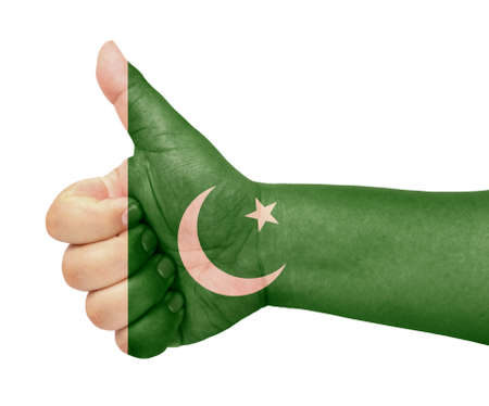 pakistan flag: Pakistan flag on thumb up gesture like icon
