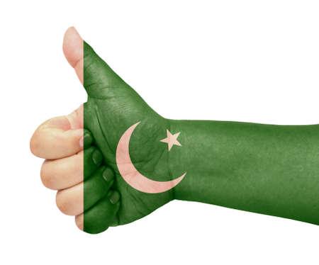 pakistan flag: Pakistan flag on thumb up gesture like icon