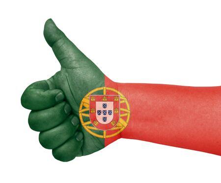 drapeau portugal: Flag Portugal sur le pouce jusqu'� geste comme ic�ne