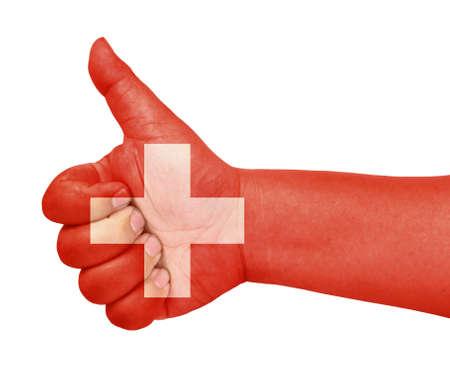 zwitserland vlag: Zwitserland vlag op de duim omhoog gebaar als het pictogram