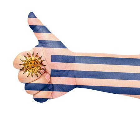 bandera de uruguay: Uruguay bandera en el pulgar hacia arriba gesto como icono Foto de archivo