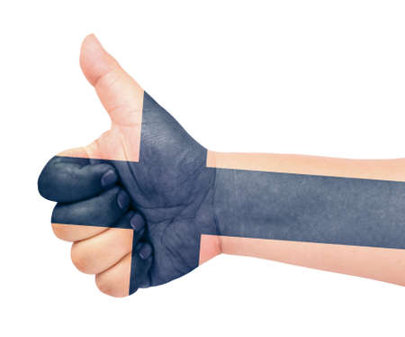 finland flag: Finland flag on thumb up gesture like icon Stock Photo