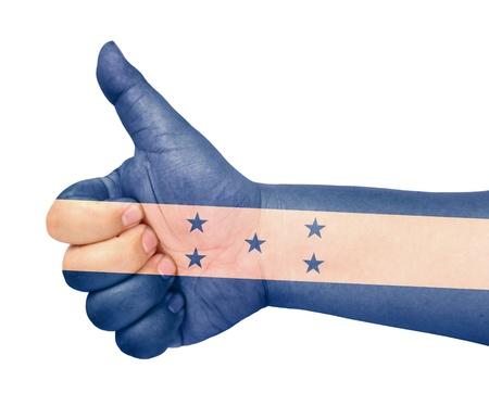 bandera honduras: Bandera de Honduras en el dedo pulgar hacia arriba gesto como icono