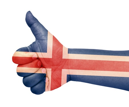 iceland flag: Iceland flag on thumb up gesture like icon