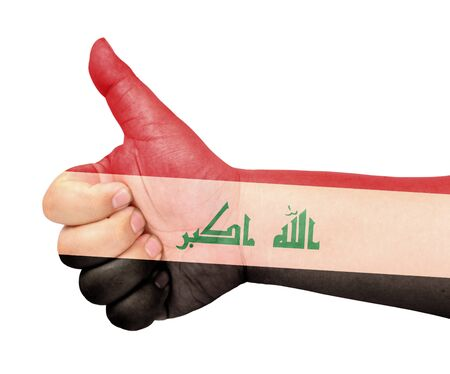 Iraq flag on thumb up gesture like icon Stock Photo - 13565813