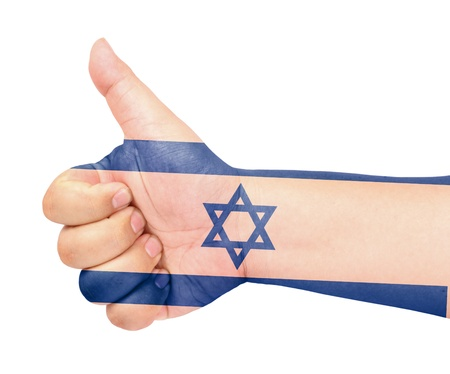Israel flag on thumb up gesture like icon photo