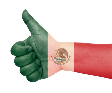 Mexico flag on thumb up gesture like icon