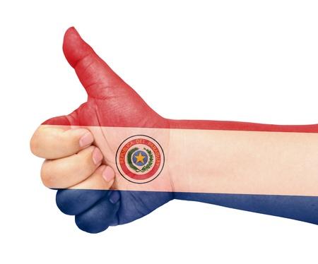bandera de paraguay: La bandera de Paraguay en el dedo pulgar hacia arriba gesto como icono Foto de archivo