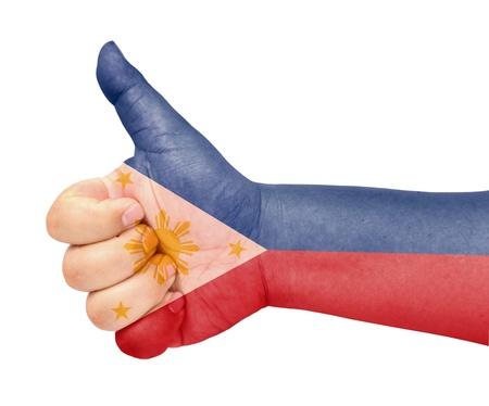 Philippinen-Flagge auf Daumen nach oben Geste wie das Symbol Standard-Bild - 13641852