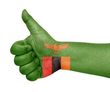 zambia flag: Zambia flag on thumb up gesture like icon Stock Photo