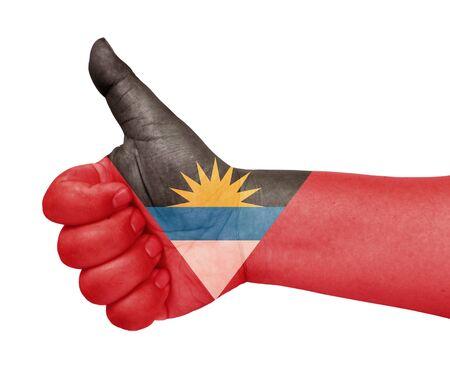 barbuda: Antigua and Barbuda flag on thumb up gesture like icon