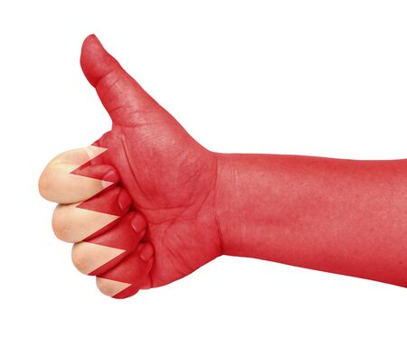 Bahrain flag on thumb up gesture like icon Stock Photo - 13682965