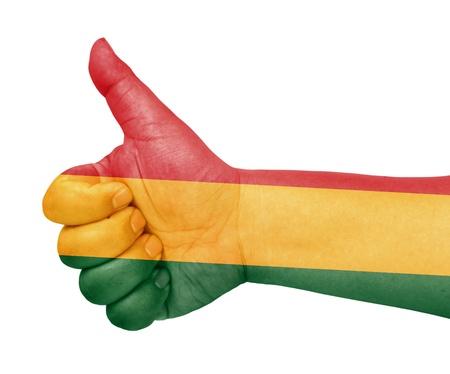 bandera de bolivia: Bolivia bandera en el pulgar hacia arriba gesto como icono Foto de archivo