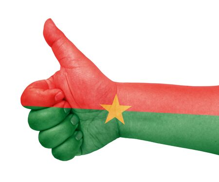 burkina faso: Burkina Faso flag on thumb up gesture like icon Stock Photo