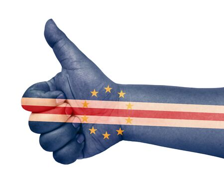 Cape Verde flag on thumb up gesture like icon Stock Photo