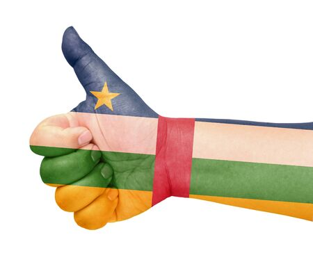 Central African  flag on thumb up gesture like icon Stock Photo - 13729825