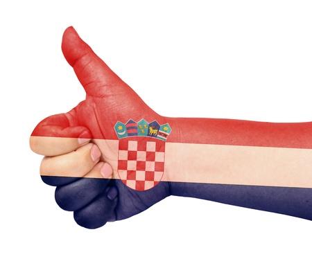 bandiera croazia: Bandiera Croazia il pollice verso l'alto gesto come icona