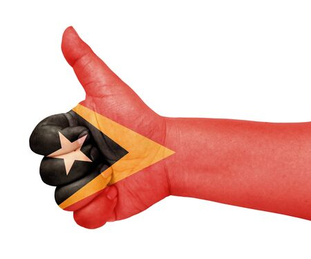 East Timor flag on thumb up gesture like icon Stock Photo - 13729832