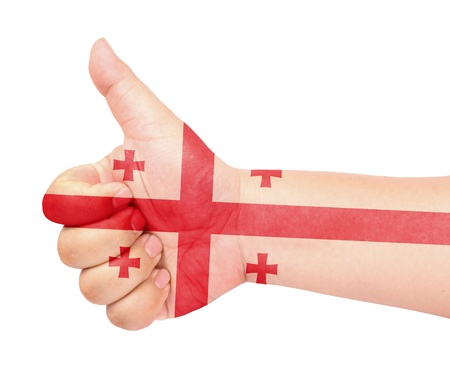 Georgia flag on thumb up gesture like icon Stock Photo - 13729331