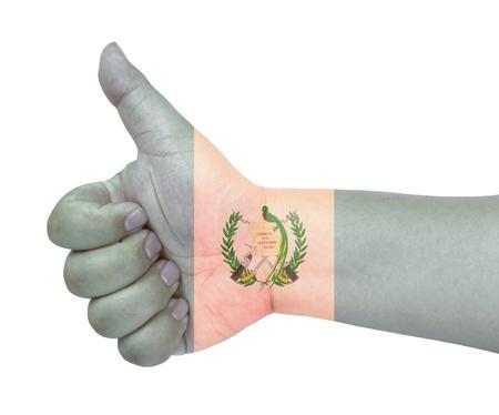 bandera de guatemala: Bandera de Guatemala en el dedo pulgar hacia arriba gesto como icono Foto de archivo