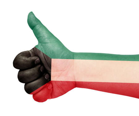 Kuwait flag on thumb up gesture like icon Stock Photo - 13729327