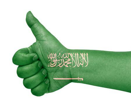 saudi arabia flag on thumb up gesture like icon on white background Stock Photo - 13870396