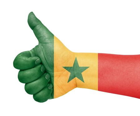 senegal flag on thumb up gesture like icon on white background Stock Photo