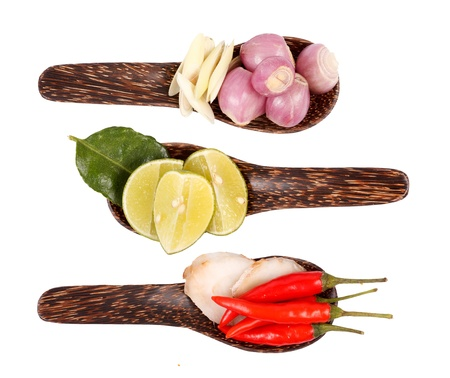 Spicy Thai food ingredients chili, lime,ginger,red onion,lemongrass isolated  photo