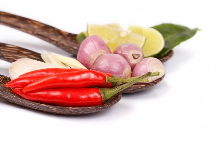 Spicy Thai food ingredients chili, lime,ginger,red onion,lemongrass isolated