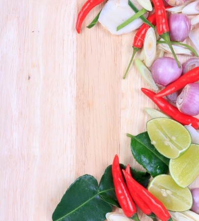 Spicy Thai food ingredients chili, lime,ginger,red onion,lemongrass