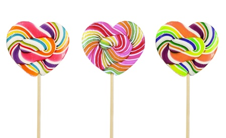 candy hearts: retro style colorful heart shape lollipop on white background