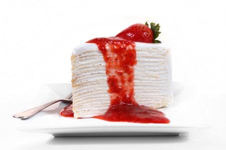 Strawberry crape cake isolated on white background  photo