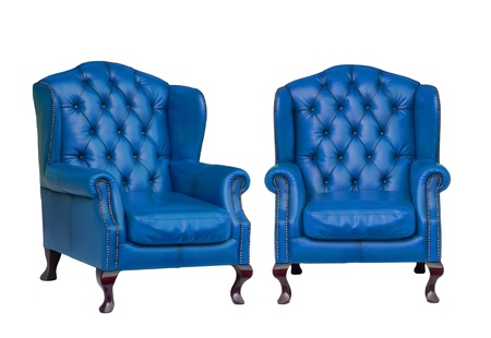 antique chair: Luxury vintage blue armchair on white background