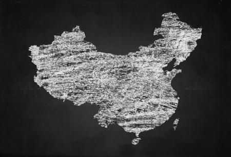 Chinese map: Mapa chino sobre fondo tablero negro