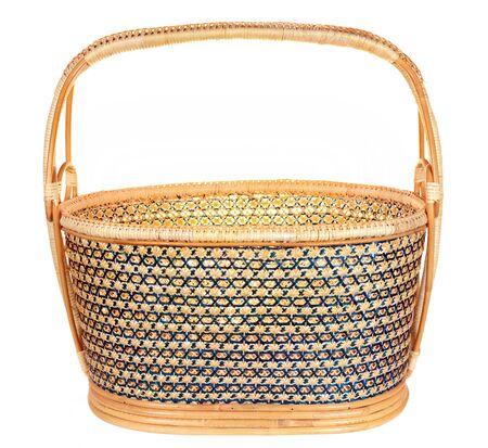 wickerwork: Yellow wicker basket isolated on white background