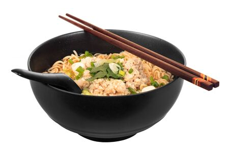 Chinese instant noodle with minced pork bowl isolated on white background photo