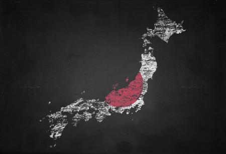Vlag van Japan kaart geïsoleerd op zwarte achtergrond BLOAD Stockfoto