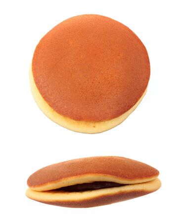 Japanese pancake Dorayaki isolated on white background photo