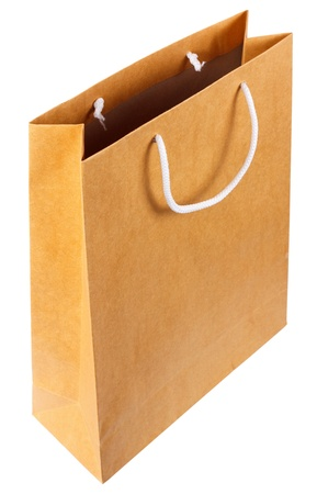 Simple browse recycled paper bag isolated on white background Stock Photo - 15797090